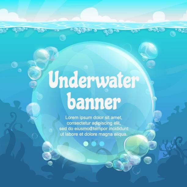 bildbanksillustrationer, clip art samt tecknat material och ikoner med underwater banner med glänsande luftbubblor på blå havet botten. - i havet
