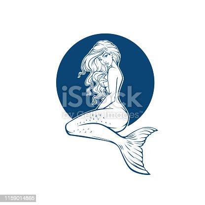 underwater  beautiful mermaid, girl cartoon image for coloring book