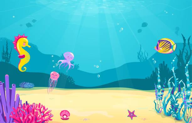 unterwasser cartoon hintergrund mit fisch, sand, algen, perle, quallen, korallen, seesterne, oktopus, seepferdchen. leben im ozean meer, süßes design - unterwasseraufnahme stock-grafiken, -clipart, -cartoons und -symbole
