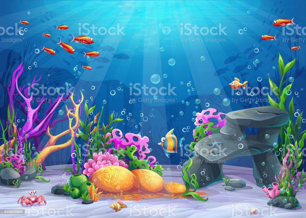 Underwater cartoon illustration vector art illustration