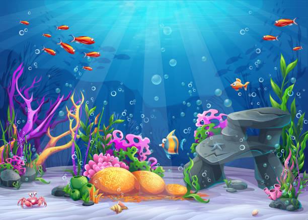 bildbanksillustrationer, clip art samt tecknat material och ikoner med underwater cartoon illustration - i havet