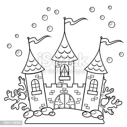 Ilustración de Castillo Bajo El Agua Ilustración De Vector De Blanco ...