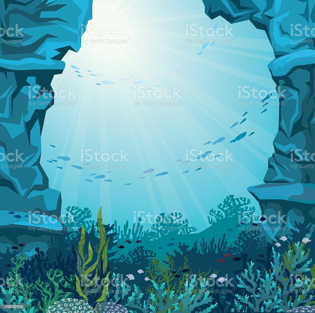 Underwater Cave And Coral Reef Stock Vector Art & More
