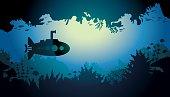 Underwater cave and submarine.