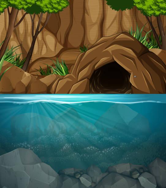 underwater cave landscape scene - rock formations stock illustrations