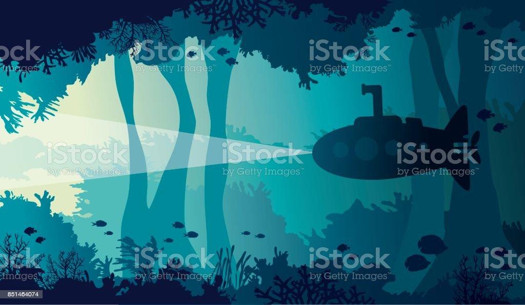Underwater cave, sea, submarine, coral reef, fish. vector art illustration