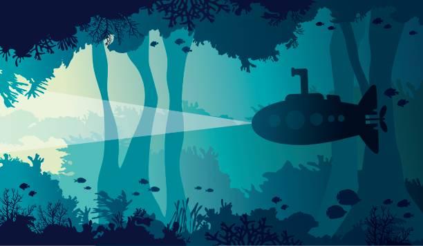 illustrations, cliparts, dessins animés et icônes de grotte sous-marine, mer, sous-marin, récif corail, poisson. - sous marin