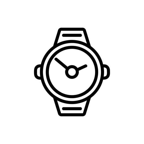 ilustrações de stock, clip art, desenhos animados e ícones de underwater clock icon vector. isolated contour symbol illustration - swim arms