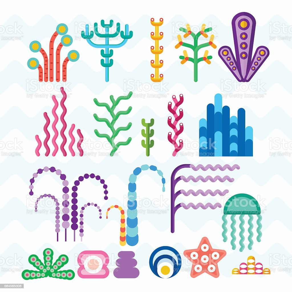 underwater coral plants vector art illustration