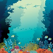 Underwater coral reef and silhouette of marlins on a blue sea background. Vector illustration with ocean wildlife.