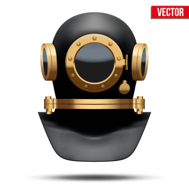 illustrazioni stock, clip art, cartoni animati e icone di tendenza di underwater diving helmet. vector illustration - frogman