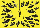 Vector illustration fish hook with bait attracted many fishes of different sizes under the sea isolated on yellow background.