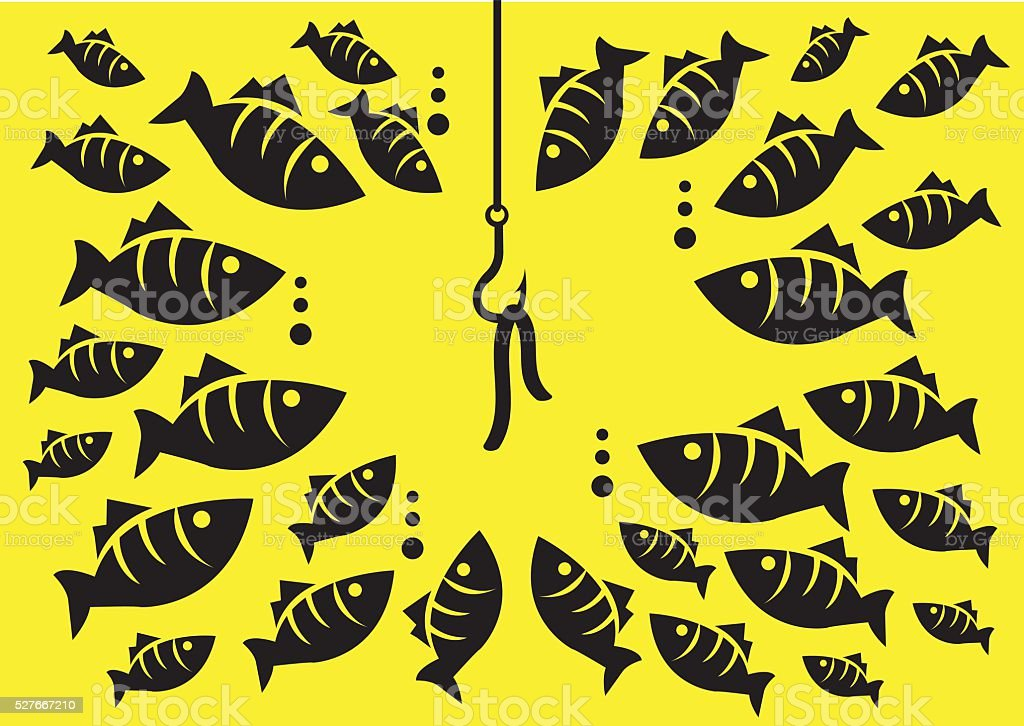 Underwater Fish Surrounding Hook with Bait Vector Illustration vector art illustration
