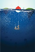 Vertical background of underwater fishing scene. Details of fish and jellyfish add to the character of the illustration.