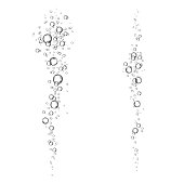 Underwater fizzing air bubbles  flow  on white  background.