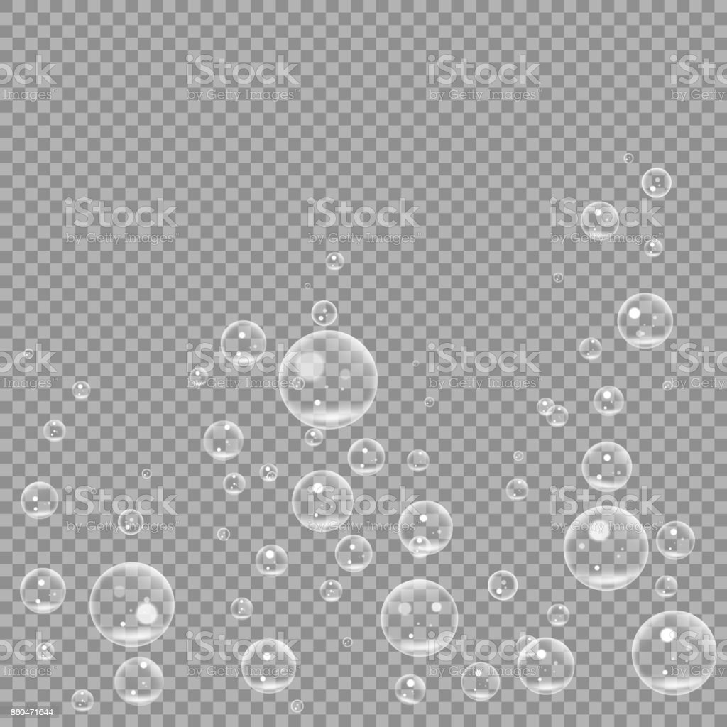 Underwater fizzing air bubbles isolated on transparent background. Air water clear bubble in water, sea, aquarium, ocean. vector illustration vector art illustration