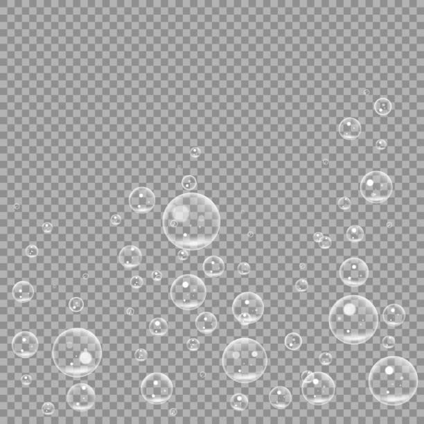 Subaquática fizzing as bolhas de ar isoladas em fundo transparente. Água clara bolha na água, aquário, mar, oceano. ilustração vetorial - ilustração de arte em vetor