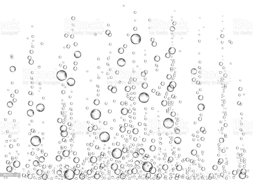 Underwater fizzing air bubbles on white  background. vector art illustration