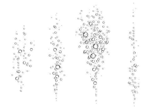 Underwater fizzy air bubbles on white  background.