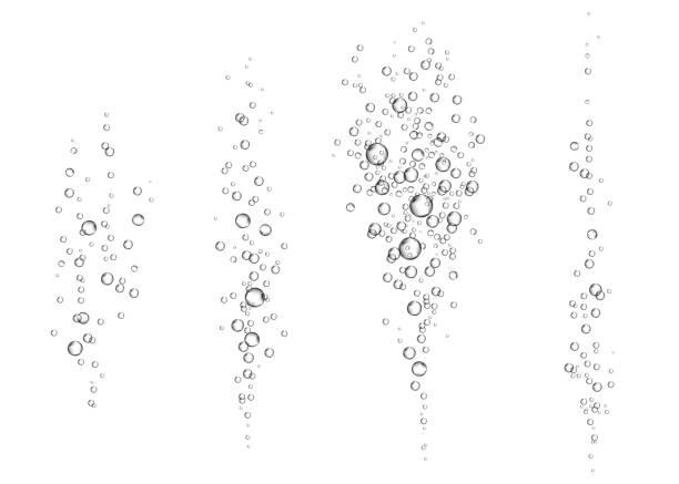 unterwasser-sprudelnde luftblasen auf weißem hintergrund. - blase physikalischer zustand stock-grafiken, -clipart, -cartoons und -symbole