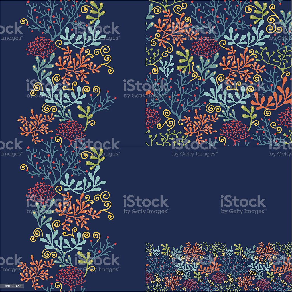 Underwater Garden Seamless Pattern Set vector art illustration