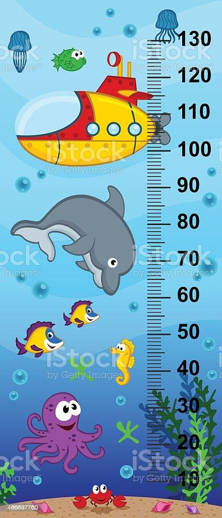 underwater height measure vector art illustration