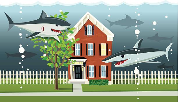 Underwater hogar Mortgage - ilustración de arte vectorial