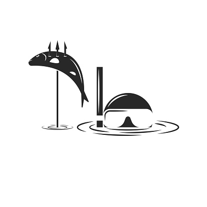Underwater hunter in a mask and snorkel for diving in the water with a trophy in the form of a fish on a harpoon, human head above water black and white vector spearfishing illustration.