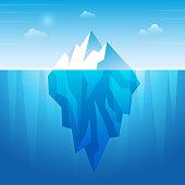 istock Underwater iceberg. Flowing ice rock in ocean water frozen mountain recent vector background 1295972264