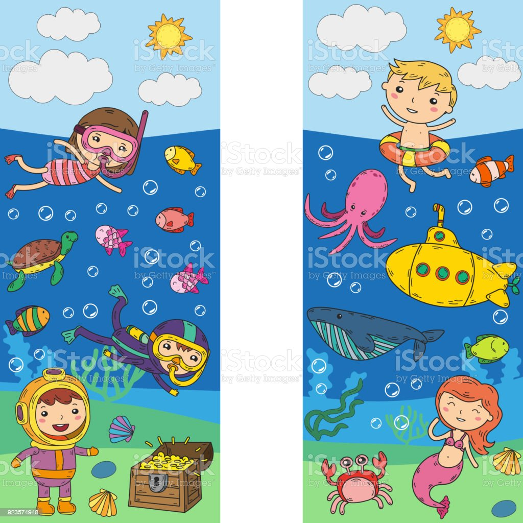 Underwater. Kids waterpark. Sea and ocean adventure. Summertime. Kids drawing. Doodle image. Cartoon creatures with children. Boys and girls swimming vector art illustration
