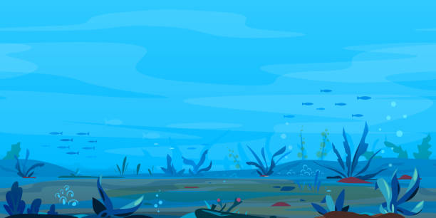 Underwater Landscape Game Background Underwater landscape river bottom with many interesting plants, fishing place banner, nature game background, tileable horizontally, eps10 with transpatents underwater stock illustrations