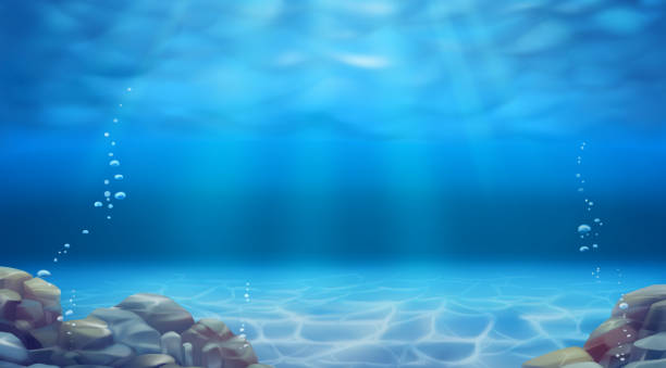 Underwater landscape. Realistic vector background Underwater landscape. Realistic vector background sea stock illustrations
