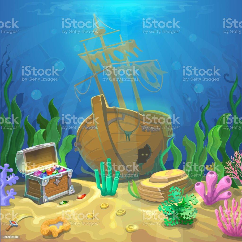 Underwater landscape. The ocean and the undersea world vector art illustration