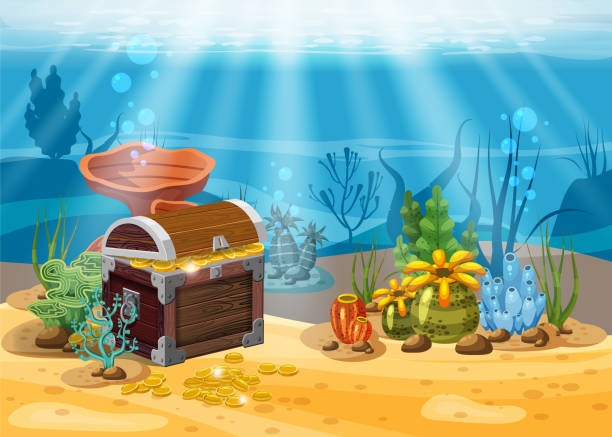 ilustrações de stock, clip art, desenhos animados e ícones de underwater landscape. the ocean and the undersea world with different inhabitants, corals and pirate chest . web and mobiles game design. cartoon style, isolated - water born nature