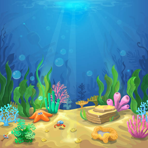 Underwater landscape. The undersea world with different inhabitants Underwater landscape. The ocean and the undersea world with different inhabitants, corals and starfish, marine life vector for game design underwater stock illustrations