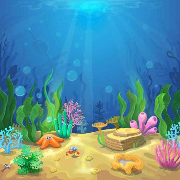 underwater landscape. the undersea world with different inhabitants - unterwasseraufnahme stock-grafiken, -clipart, -cartoons und -symbole