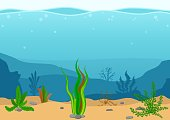 Underwater landscape with seaweeds. Seascape with reef. Marine sea bottom silhouette with seaweed. Nature Scene in flat cartoon style. Vector illustration