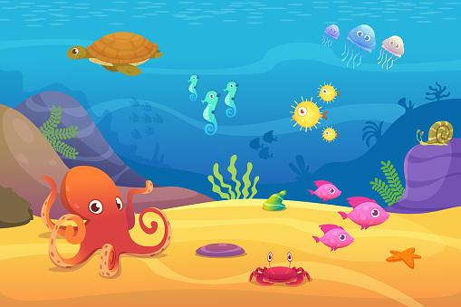 Underwater life. Aquarium cartoon fish ocean and sea animals vector background