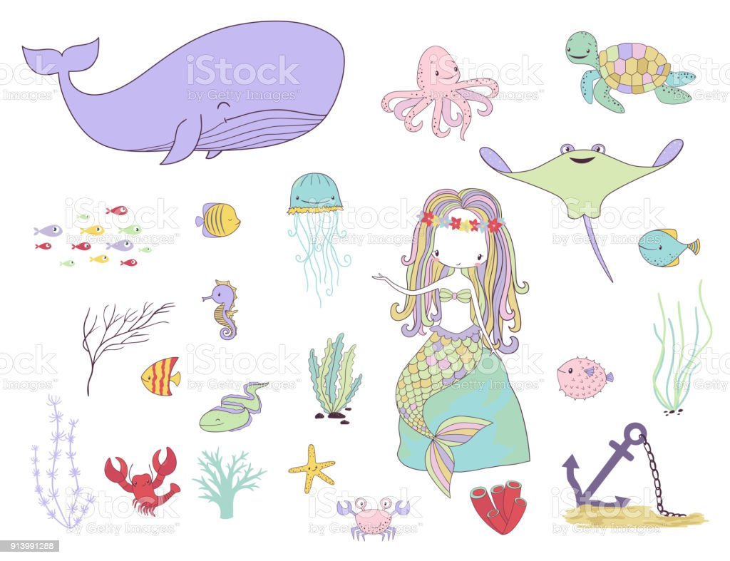 Sualtı Canlıları Deniz Kızı Balıklar Ve Deniz Hayvanlar Stok Vektör