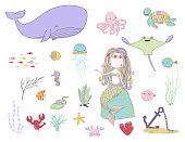 Underwater life. Mermaid, fishes and sea animals