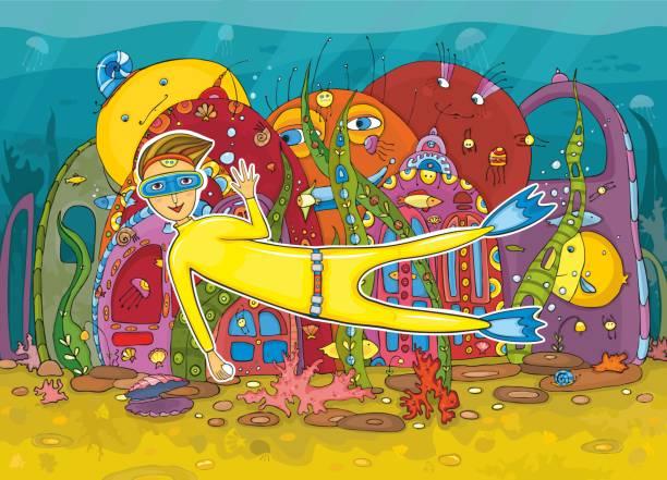 illustrazioni stock, clip art, cartoni animati e icone di tendenza di vita sottomarina - frogman