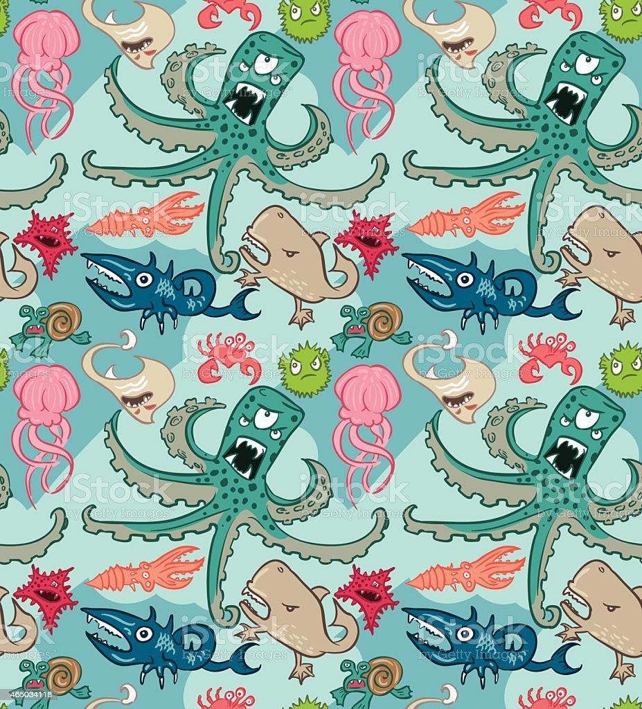Underwater monsters seamless vector art illustration
