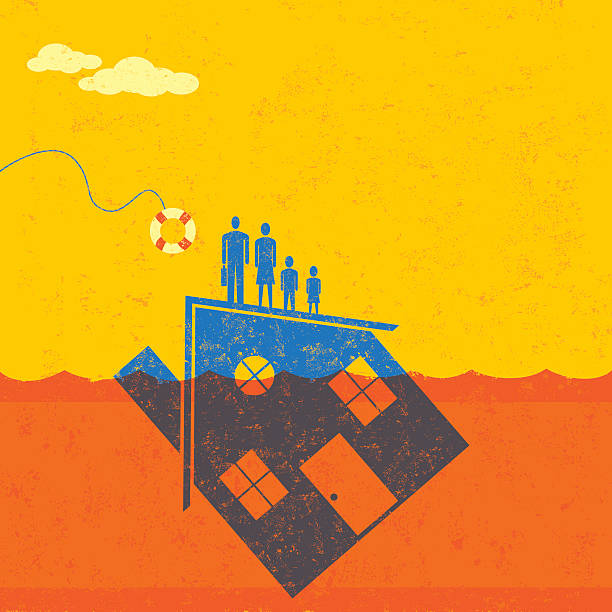 Underwater Mortgage help A family floating on their house, which is partially underwater in the ocean, about to be saved by a life preserver. bailout stock illustrations
