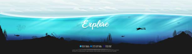 サンゴ礁パノラマの水中海のシーンの背景 - 水族館点のイラスト素材/クリップアート素材/マンガ素材/アイコン素材