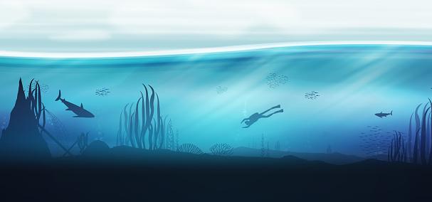 Underwater ocean scene background of reefs with scuba diver
