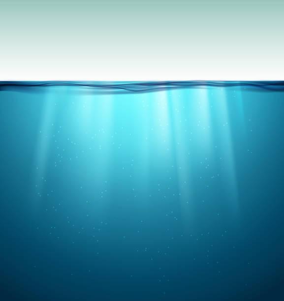 unterwasseroberfläche. blaues wasser hintergrund. saubere natur meer unterwasser-kulisse - unterwasseraufnahme stock-grafiken, -clipart, -cartoons und -symbole