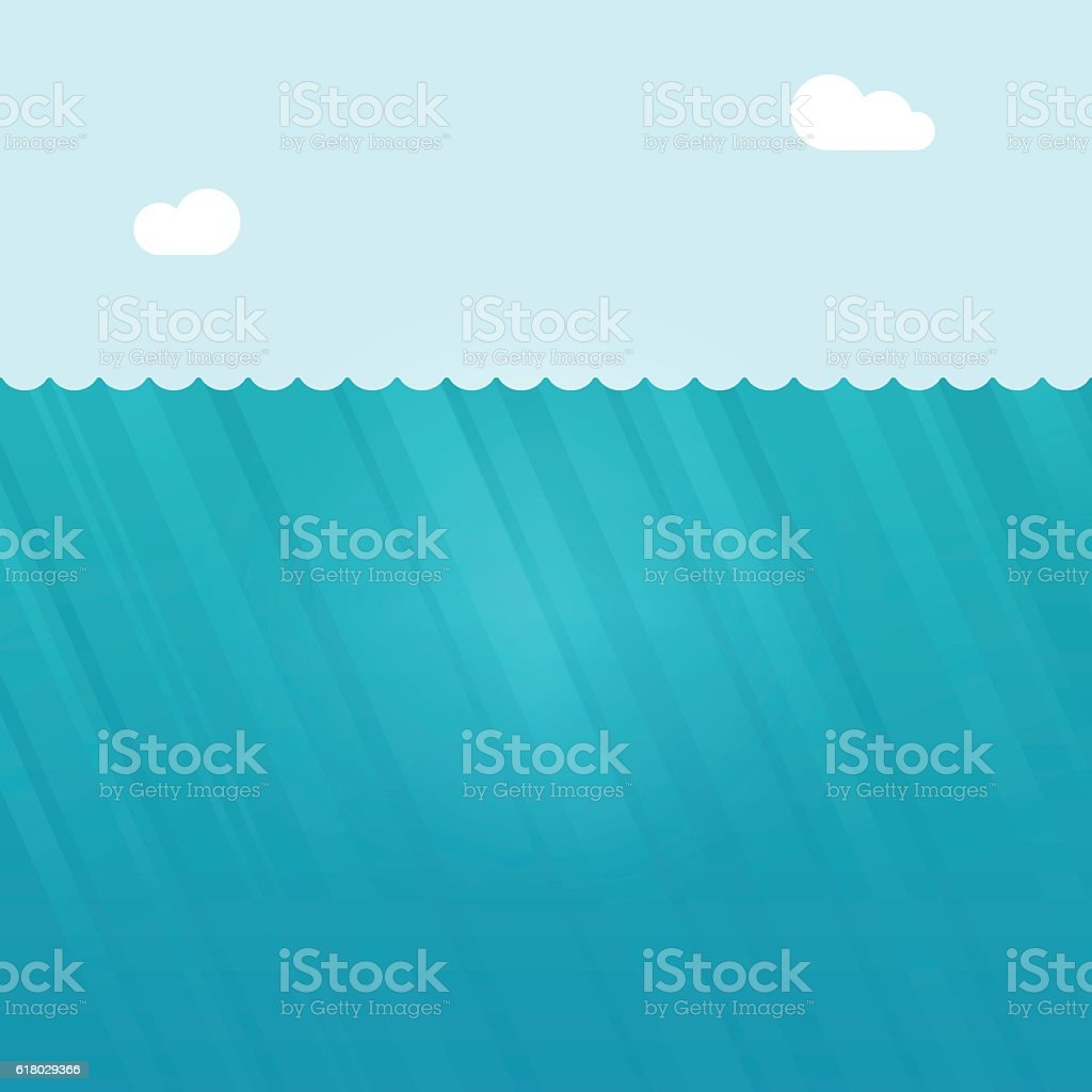 Underwater scene vector illustration, deep under water ocean background vector art illustration