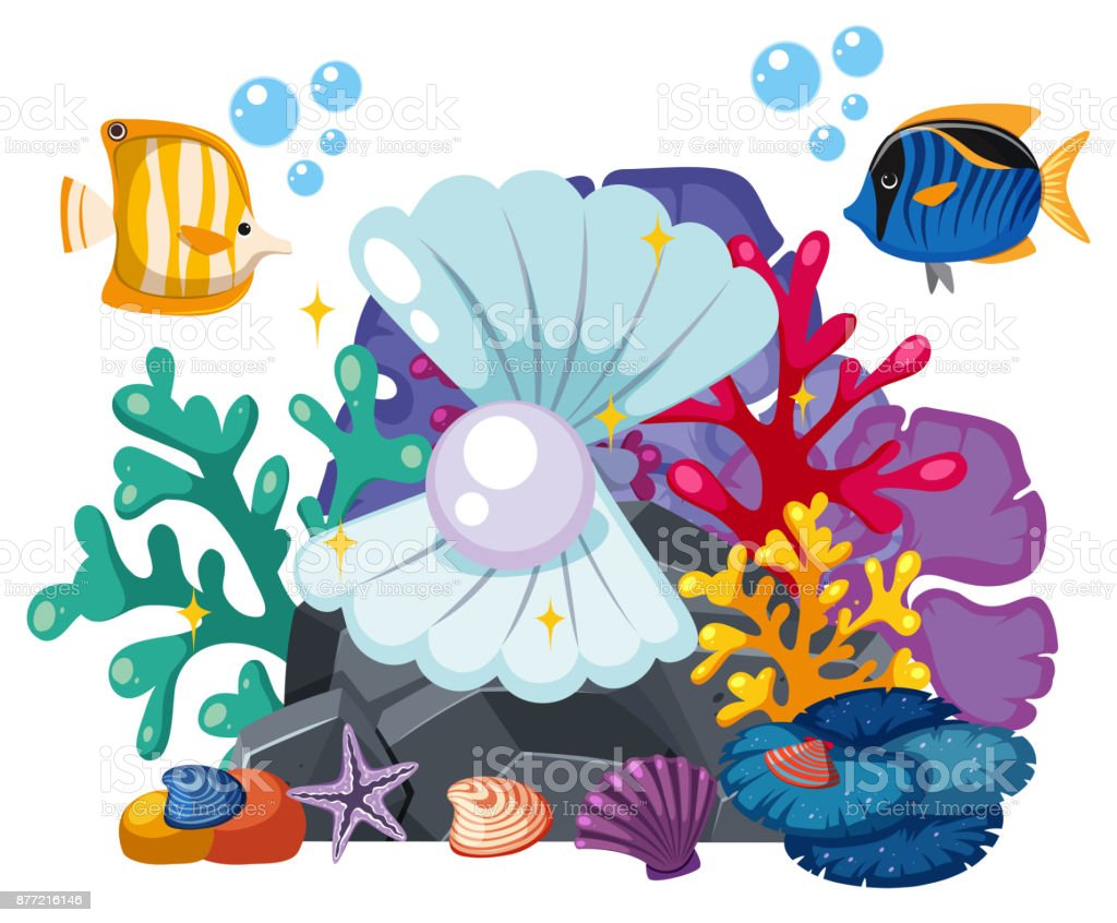 Underwater scene with pearl and fish vector art illustration