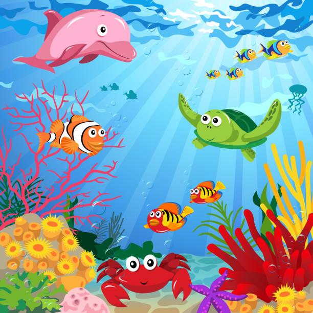 illustrazioni stock, clip art, cartoni animati e icone di tendenza di scena subacquea con sea life - under the sea fish