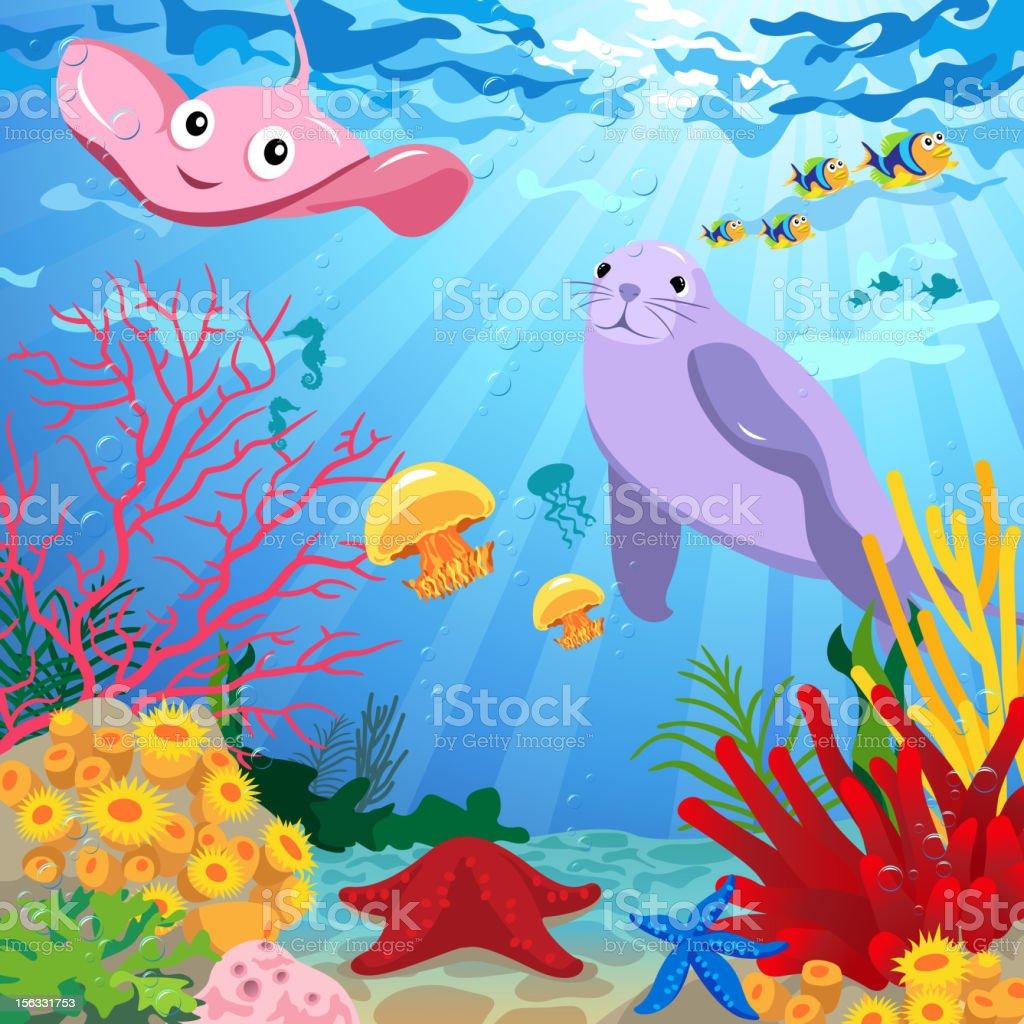 Underwater Scene with Sea Life vector art illustration